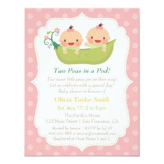 Cute Little Peas In A Pod Twin Girls Baby Shower Card