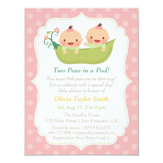 Cute Little Peas In A Pod Twin Girls Baby Shower Invitation Zazzle Com