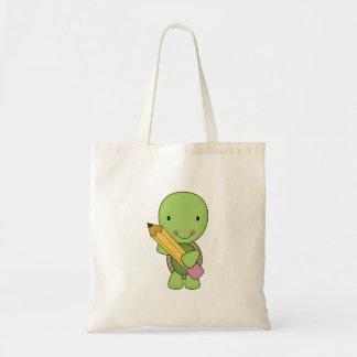 cute little pencil turtle tote bag