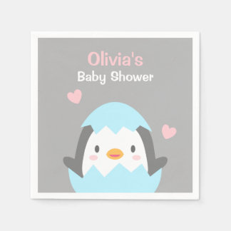 Cute Little Penguin Baby Shower Party Napkins