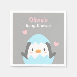 Cute Little Penguin Baby Shower Party Napkins