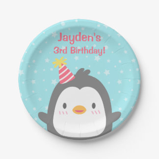 Cute Little Penguin Birthday Party Supplies Paper Plate