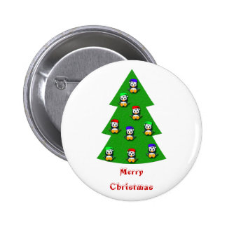 Cute Little Penguin Christmas Tree 2 Inch Round Button
