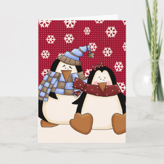 Cute Little Penguin Couple Greeting Cards