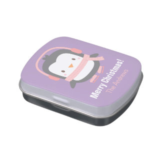 Cute Little Penguin Kids Christmas Party Favors Jelly Belly Candy Tins