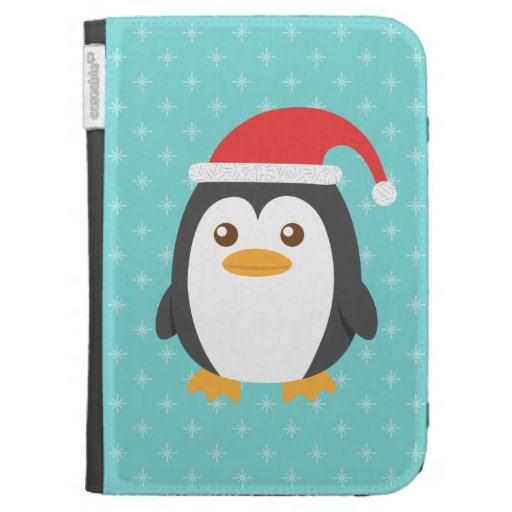 Penguin Book Kindle Cover ~ Cute little penguin with santa hat for christmas cases