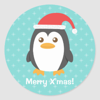 Cute Little Penguin with Santa Hat for Christmas Classic Round Sticker