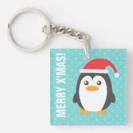 Cute Little Penguin with Santa Hat for Christmas Keychain