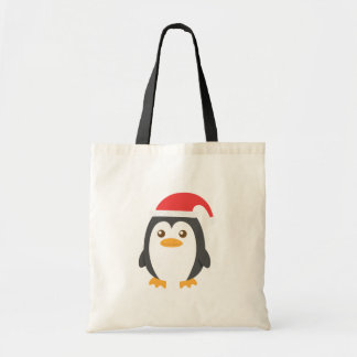Cute Little Penguin with Santa Hat for Christmas Tote Bag