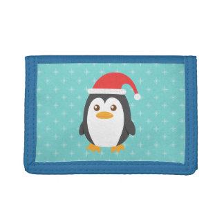 Cute Little Penguin with Santa Hat for Christmas Trifold Wallets