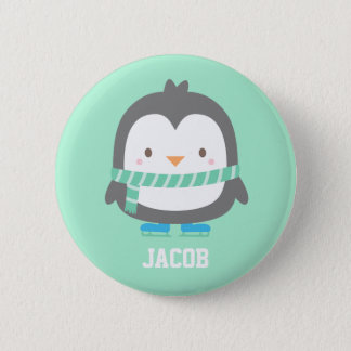 Cute Little Penguin with Winter Scarf For Boys Pinback Button