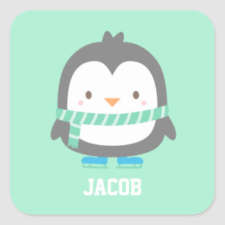 Cute Little Penguin with Winter Scarf For Kids Square Sticker
