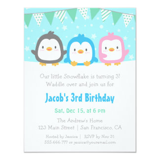 Cute Little Penguins Birthday Party Invitations