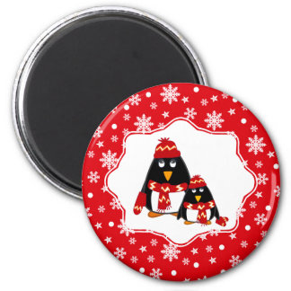Cute Little Penguins. Christmas Gift Magnets