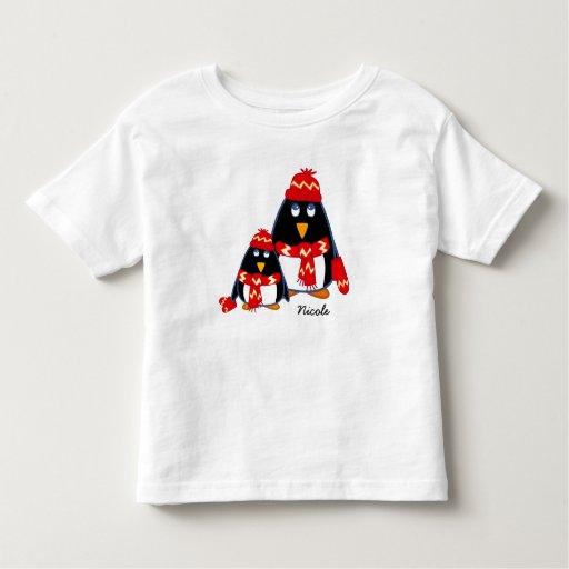 Cute little penguins custom kid s name t shirts zazzle