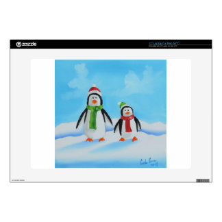 """Cute little penguins with scarves 15"""" laptop skins"""