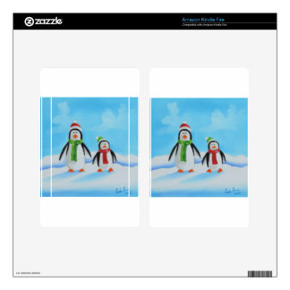 Cute little penguins with scarves decals for kindle fire