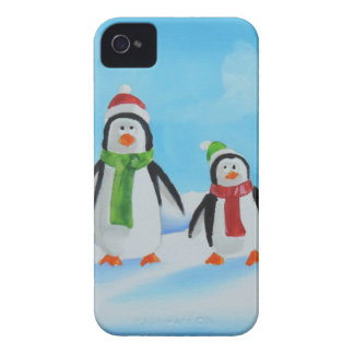 Cute little penguins with scarves iPhone 4 case