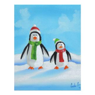 Cute little penguins with scarves letterhead