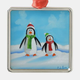 Cute little penguins with scarves metal ornament