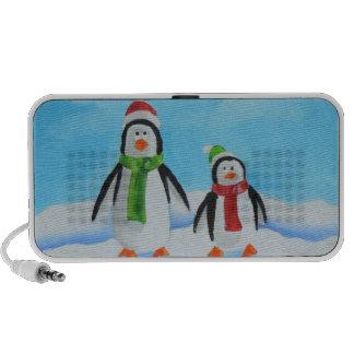 Cute little penguins with scarves mini speaker