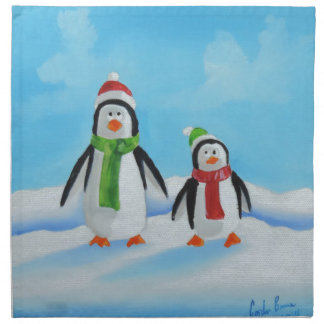 Cute little penguins with scarves napkin