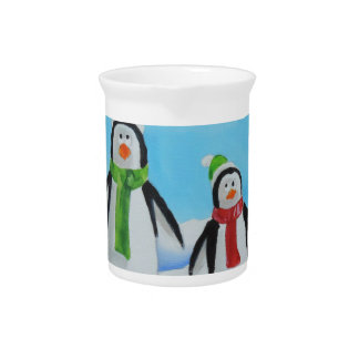 Cute little penguins with scarves pitchers