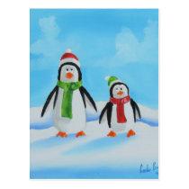 Cute little penguins with scarves postcard