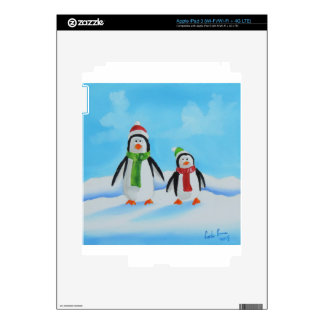 Cute little penguins with scarves skins for iPad 3