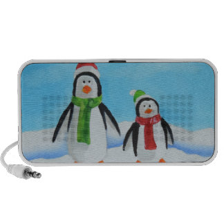 Cute little penguins with scarves speaker