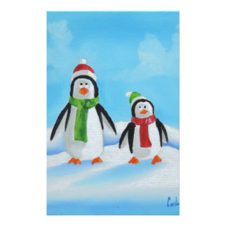 Cute little penguins with scarves stationery