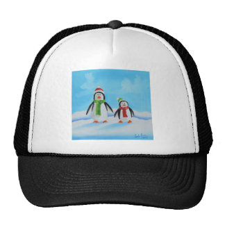 Cute little penguins with scarves trucker hat