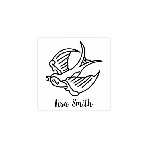 Cute Little Personalized Tattoo Sparrow Rubber Stamp