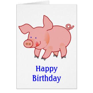 Cute Little Pig Birthday Greeting Card