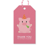 Cute Little Pig Kids Birthday Party Gift Tags
