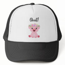 Cute Little Pig with a Floral Crown Trucker Hat