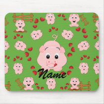 Cute Little Piggies and Hearts Pattern Print Mouse Pad