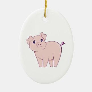 Cute Little Piggy Art Ceramic Ornament