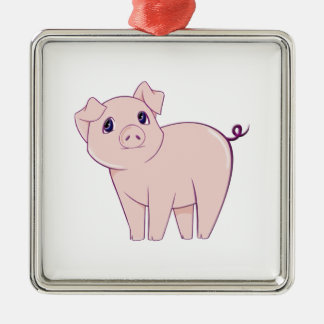 Cute Little Piggy Art Metal Ornament