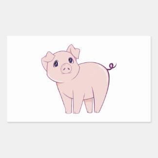 Cute Little Piggy Art Rectangular Sticker