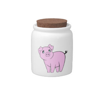 Cute Little Piggy, Baby Pig - Pink Black Candy Jar