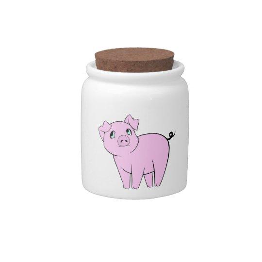 Cute Little Piggy, Baby Pig - Pink Black Candy Jar