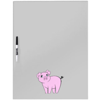 Cute Little Piggy (Baby Pig) - Pink Black Dry-Erase Board