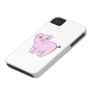 Cute Little Piggy (Baby Pig) - Pink Black iPhone 4 Case-Mate Cases