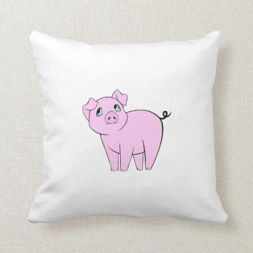 Cute Little Piggy (Baby Pig) - Pink Black Pillow
