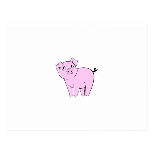 Cute Little Piggy (Baby Pig) - Pink Black Postcard