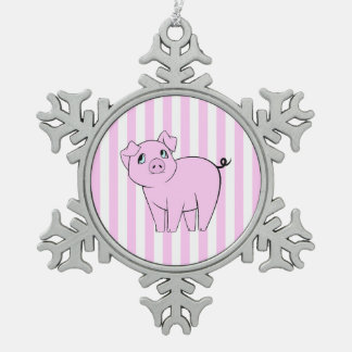 Cute Little Piggy (Baby Pig) - Pink Black Snowflake Pewter Christmas Ornament