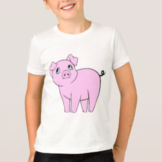 Cute Little Piggy (Baby Pig) - Pink Black T-Shirt