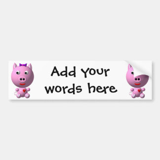Cute little piggy with hearts and bow! bumper sticker