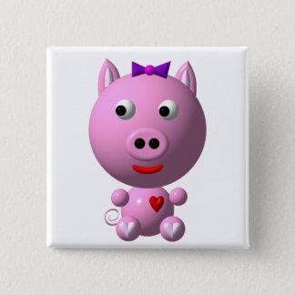Cute little piggy with hearts and bow! button
